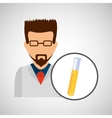 male scientist laboratory icon test tube vector image