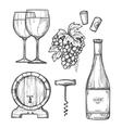 Wine making hand drawn set vector image