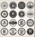 anniversary retro labels collection 80 years vector image vector image