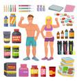 bodybuilding sport food bodybuilders vector image vector image