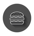 burger fast food flat icon hamburger symbol logo vector image