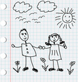 Cartoon doodle of boy and girl vector image vector image