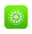 casino gambling roulette icon digital green vector image