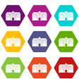 chapel icon set color hexahedron vector image vector image