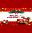 christmas sales and discount week red banner with vector image vector image