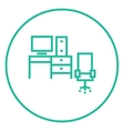 Computer set with table and chair line icon vector image vector image