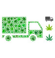 delivery mosaic of cannabis vector image vector image