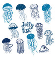 different blue silhouettes vector image