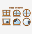 different shape and old shattered wood windows vector image