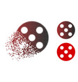 dissolving dot halftone round dice icon vector image