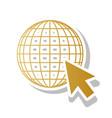 earth globe with cursor golden gradient vector image vector image