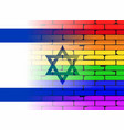 gay rainbow wall israel flag vector image