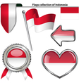 Glossy icons with Indonesia flag vector image vector image
