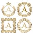 golden letter a vintage monograms set heraldic vector image vector image