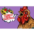 Greetings Of Rooster Comic Style Design vector image