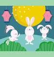 happy mid autumn festival cute rabbits full moon vector image vector image