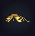 house gold tree garden logo vector image vector image