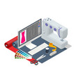 isometric sewing workshop collection textile vector image