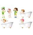 Kids taking a bath vector image vector image