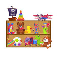 kids toys shelves toy kid shop wood shelf doll vector image vector image