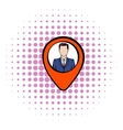Map pointer with businessman icon comics style vector image vector image