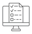 online tests thin line icon e learning vector image vector image