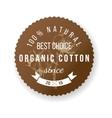 Organic cotton label vector image vector image