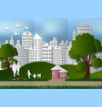 paper art of people and pets with city and tree vector image vector image