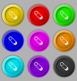 Pushpin icon sign symbol on nine round colourful vector image vector image