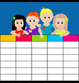 school timetable with kids vector image vector image