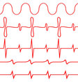 Seamless set of lines heartbeat vector image vector image
