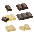 set chocolate pieces milk chocolatewhite vector image