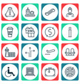 set of 16 travel icons includes hostess siren vector image vector image