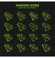 Set of line diamond web iconssymbolsign in vector image