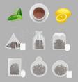 tea bags collection realistic templates green vector image vector image