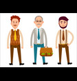 three men of different looks flat cartoon theme vector image