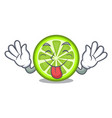 tongue out green lemon slices on mascot plate vector image