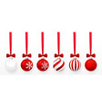 transparent and red christmas ball with snow vector image vector image