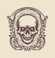 vintage frame skull engraving vector image vector image
