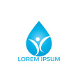 water drop with human icon logo design vector image vector image
