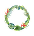 watercolor frame tropical leaves and vector image vector image