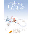 winter landscape christmas card vector image vector image