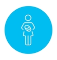 Woman holding baby line icon vector image