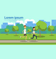 woman man couple running full length on city park vector image