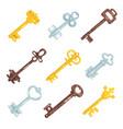 collection vintage old keys different bronze vector image