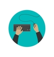 Hands typing on keyboard vector image