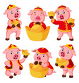 a collection of a pink pig uses the red costume vector image vector image