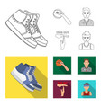 basketball and attributes outlineflat icons in vector image vector image