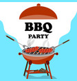 bbq background with barbecue and grilled sausages vector image vector image