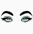 beautiful cute female eyes in cartoon style vector image vector image